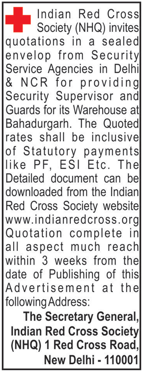 Indian Red Cross Society Tenders